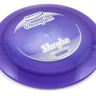 Innova Champion Shryke blue/purple with white stamp.