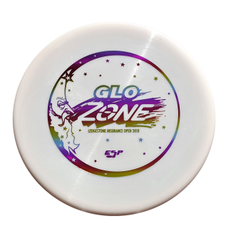 Discraft ESP Glo Zone White with rainbow stamp.