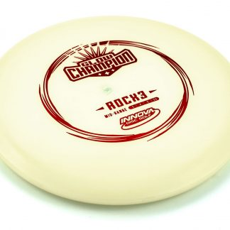 Innova RocX3 in white glow champion plastic with red stamp.