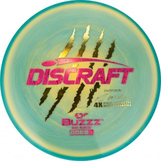 Discraft Swirly ESP Buzzz Paul McBeth gold with pink two foil stamp
