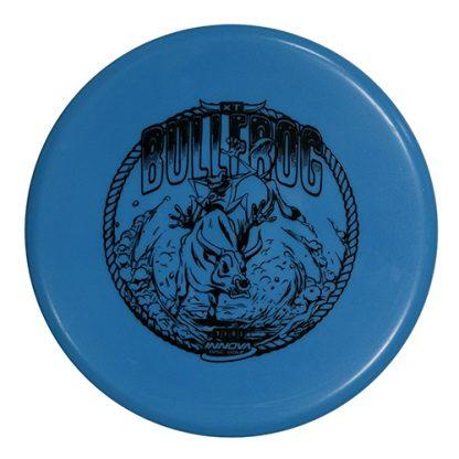 Innova XT Bullfrog in blue plastic with black stamp.