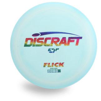 Discraft Swirly ESP Flick with swirly blue plastic and rainbow stars stamp.