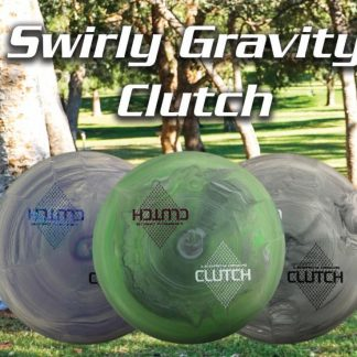 Swirly Gravity Clutch stock image - 3 discs and text