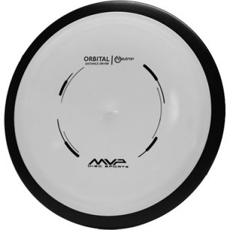 MVP Orbital white with black rim and black stamp on neutron plastic.