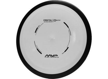 MVP Orbital white with black rim and black stamp on neutron plastic.