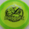Machete - Cryztal Sparkle - 2019 LSIO - green - oil-slick - 173-175g - slight-dome-to-a-puddle-top-center - somewhat-stiff
