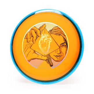 Axiom Prism Plasma Wrath orange with blue rim and 3 foil stamp