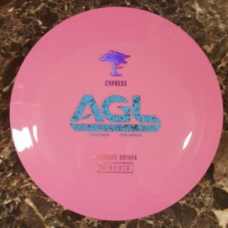 AGL Discs Cypress Pink treelike plastic with blue stamp.