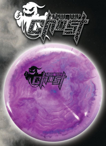 Swirly Purple Flat Top Ghost - Black stamp
