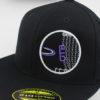 Fitted Flatbill Hat - black - black - purple - 67-8-71-4 - white - silver