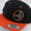 Flatbill Snapback Hat - black - orange - orange - white - silver