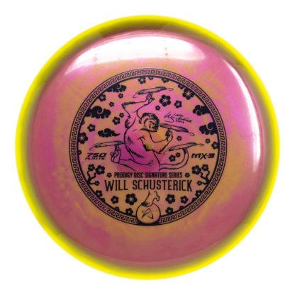Schusterick MX-3 - Yellow rim, Pink-ish core, Black foil stamp
