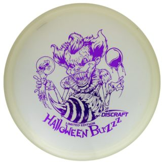 Discraft Halloween Buzzz Glo plastic with purple stamp.