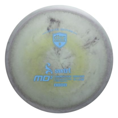 Swirly MD5 - Grey/White/Neon Yellow with Light Blue stamp
