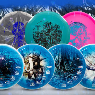 Tyyni Fundraiser Discs set on a graphics background.