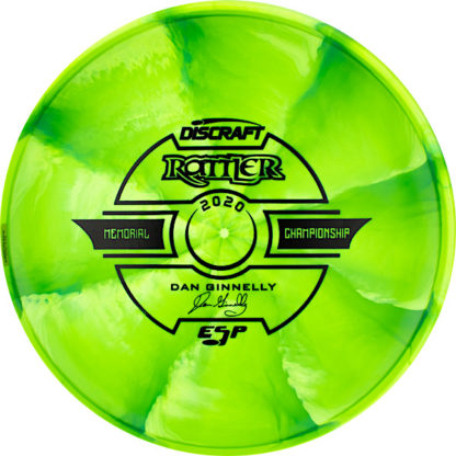 Discraft Swirly ESP Rattler in green plastic with black stamp.