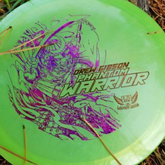 The Legacy Discs Phantom Warrior designed for Drew Gibson against grass.