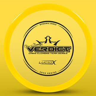 The Dynamic Discs Chris Clemons Lucid-X Verdict in yellow plastic with black stamp.