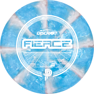 Discraft Paige Pierce First Run Fierce in blue and grey swirly plastic with white retro stamp.