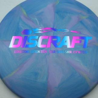 Discraft Ledgestone Swirl ESP Meteor in blue and purple plastic with a rainbow stamp.