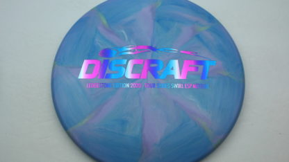 Discraft Ledgestone Swirl ESP Meteor in blue and purple plastic with a rainbow stamp.