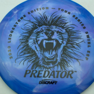 Discraft Swirl ESP Predator with Ledgestone stamp in blue plastic with black stamp.