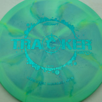 Discraft Swirl ESP Tracker Ledgeston fundraiser in green blue plastic with blue stamp.