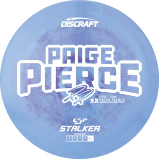 Discraft Paige Pierce Stalker in swirly ESP plastic with white stamp.