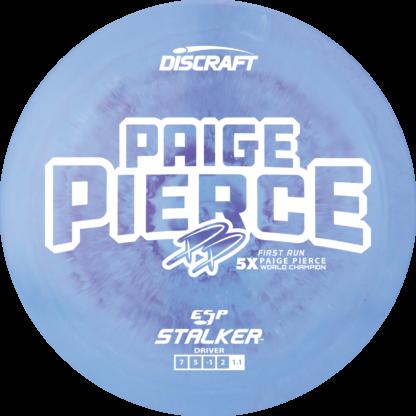 Discraft Paige Pierce Stalker in swirly ESP plastic with white stamp.