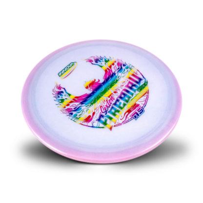 Innova 2020 Sexton Firebird in pink glow champion with rainbow stamp.