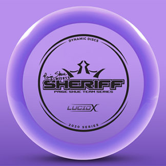 Dynamic Discs Lucid-X Sheriff in purple plastic, the Paige Shue Sheriff against a purple background.