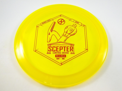 Infinite Discs Scepter in yellow champion plastic with red stamp.