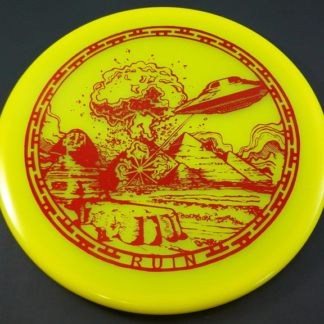 Infinite Discs Ruin in yellow s-blend plastic with red stamp against black background.