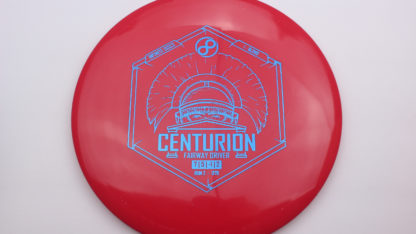 Infinite Discs Centurion in Red s-blend plastic with blue stamp.
