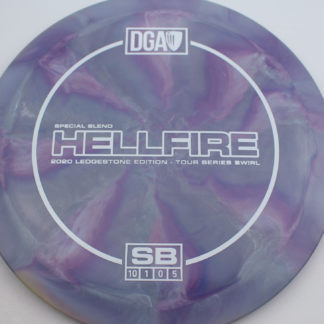 The DGA SB Swirl Hellfire in purple/teal plastic with white stamp.
