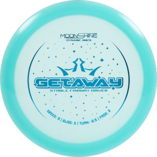 Dynamic Discs Moonshine Getaway in teal plastic with blue stamp.