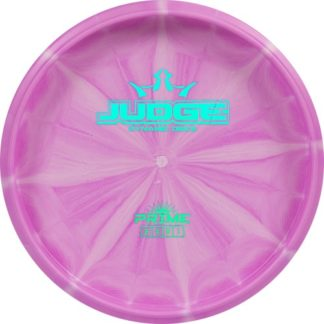 The Dynamic Discs Bottom Stamp Prime Judge in pink burst plastic and a teal bottom stamp.