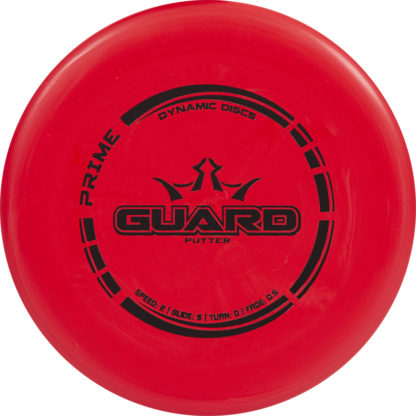 Dynamic Discs Prime Guard in Red plastic with black stamp.
