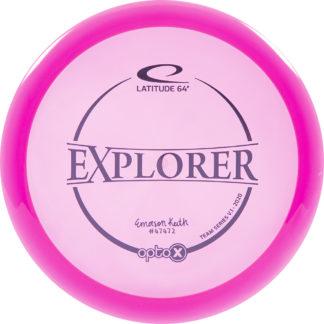 Latitude 64 Emerson Keith Opto-X Explorer Tour Series disc in pink plastic.
