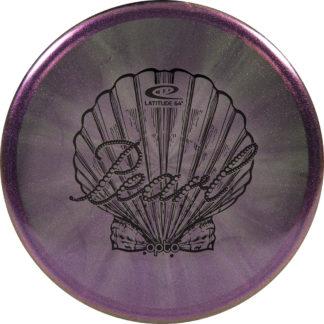 Latitude 64 opto Glimmer Pearl in purple burst with black stamp.