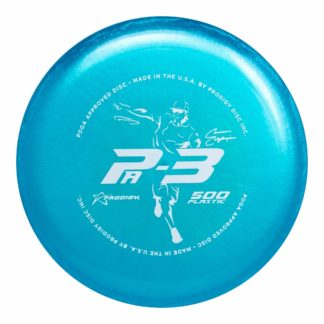 The Prodigy Discs Cameron Colglazier Pa3 in blue 500 plastic.