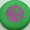 Challenger - green - d-line - fuchsia-fracture - 304 - 173-175g - 173-4g - somewhat-puddle-top - somewhat-stiff